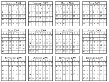 Yearly Calendar 2009 Simple Penny Printables